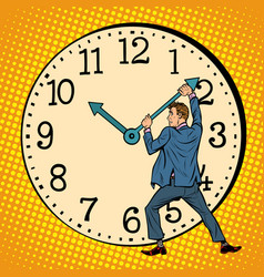 Man wants to stop the clock time management vector
