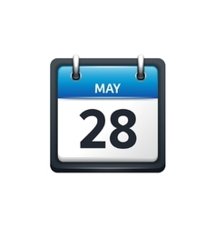 May 28 Calendar icon flat vector image