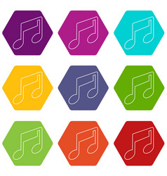 music note icons set 9 vector image