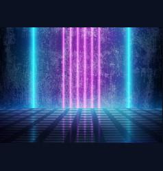 Neon 3d glow lights near dirty grunge wall vector
