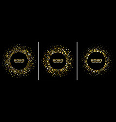 new year 2020 party gold confetti circle frame vector image