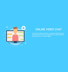 Online video chat with man vector