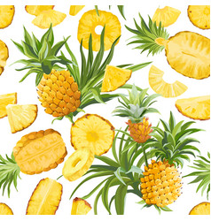Pineapple fruit seamless tropical pattern vector
