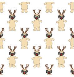 pug in deer costume seamless pattern vector image