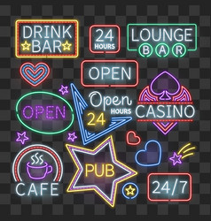 Realistic neon bar illumination signs isolated on vector