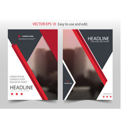 Red triangle annual report brochure design vector