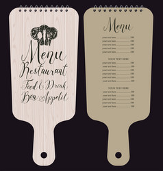 restaurant menu in form of wooden cutting board vector image