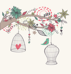 Romantic with bird out cages branch and vector