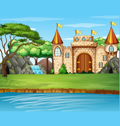 Scene with big castle waterfall vector