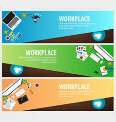 set banners of freelance workplace office co vector image