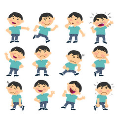 set of cartoon character asian boy vector image