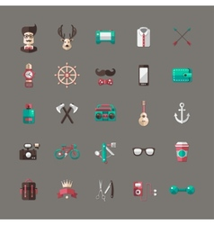 Set of modern flat design hipster icons vector image