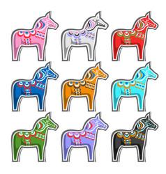 Set swedish wooden horses vector