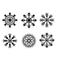 Snowflakes black isolated on white background vector image