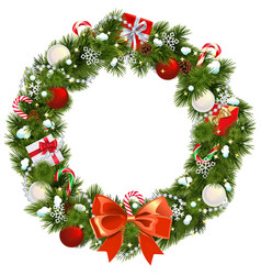 snowy christmas wreath vector image