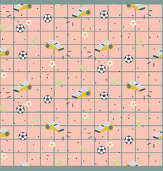 Sport retro girlish seamless pattern background vector