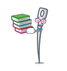 Student with book needle mascot cartoon style vector
