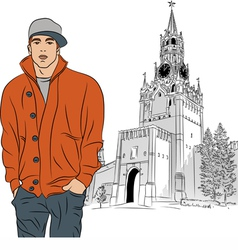 Stylish guy in Moscow Kremlin Russia vector
