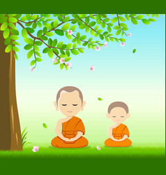 Thai monks and thai novice buddhism meditation vector