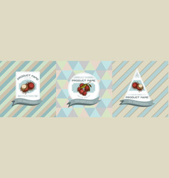 Three colored labels with rambutan vector