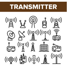 transmitter radio tower linear icons set vector image