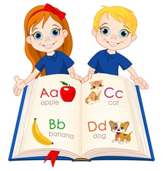 Two kids and abc book vector