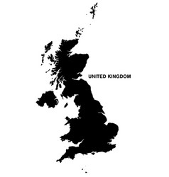 united kingdom map silhouette on white background vector image