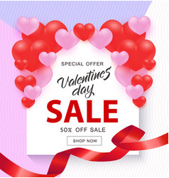Valentine day sale banner with sign on white shape vector