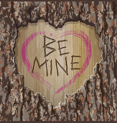 valentines day tree carving be mine vector image