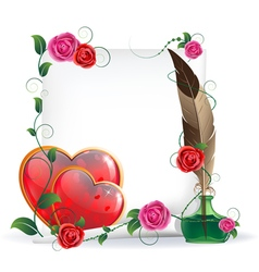 Valentines hearts roses and paper vector image