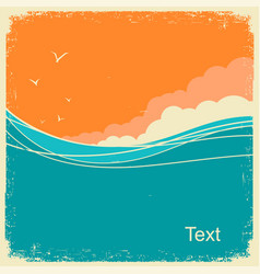 vintage seascape on old paper background for text vector image
