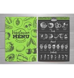 Vintage vegetarian menu design Fresh fruit sketch vector image