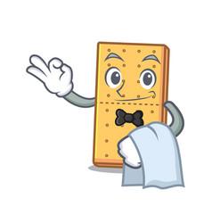 Waiter graham cookies mascot cartoon vector