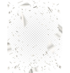 white shiny confetti on transparent background vector image
