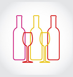 wineglass and bottles silhouette on gray art vector image
