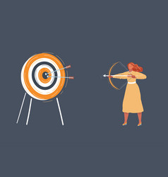 woman with bow shout arrow to the vector image