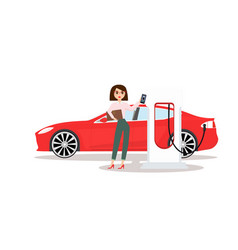 woman with electric car vector image
