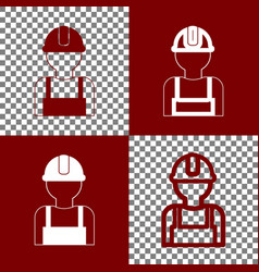 Worker sign bordo and white icons and vector