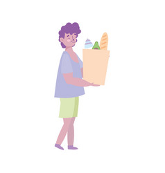 Young man carrying paper bag grocery with food vector