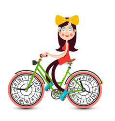 Young pretty girl on bicycle with clock faces vector