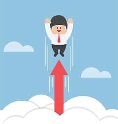 Businessman flying up through the clouds with grow vector
