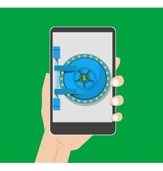 concept Financial insurance safe door a vector image