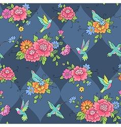 Pattern colibri blue vector