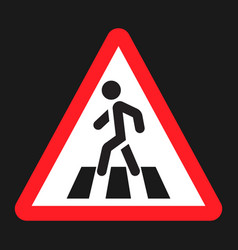 pedestrian crossing and crosswalk sign flat icon vector image
