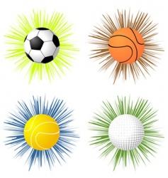 sport balls over starburst vector image