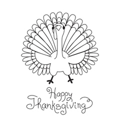 Doodle Thanksgiving Turkey Freehand Drawing vector image