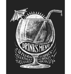 drinks menu on blackboard vector image