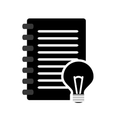 wired notebook and lightbulb icon vector image vector image