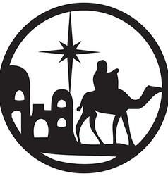 Adoration of the Magi silhouette icon black white vector image vector image