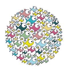 colorful circular pattern fish aquatic animal vector image